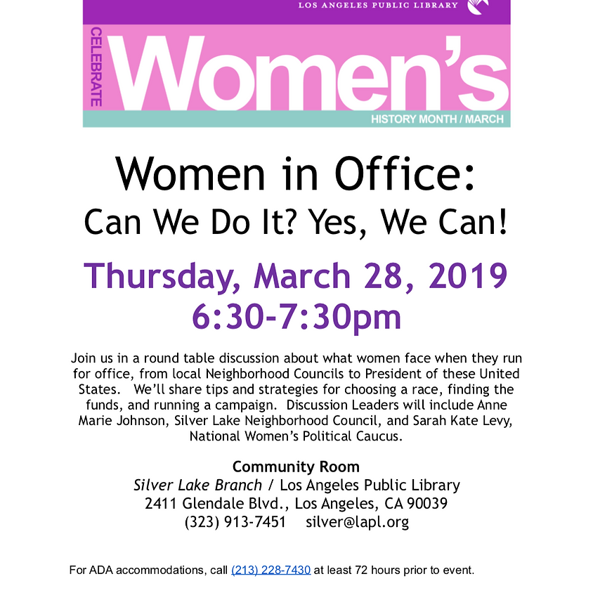 Women in Office: Can We Do It? Yes, We Can!