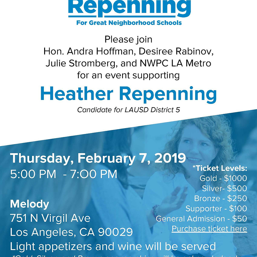 Fundraiser for NWPC LA Metro Candidate, Heather Repenning for LAUSD