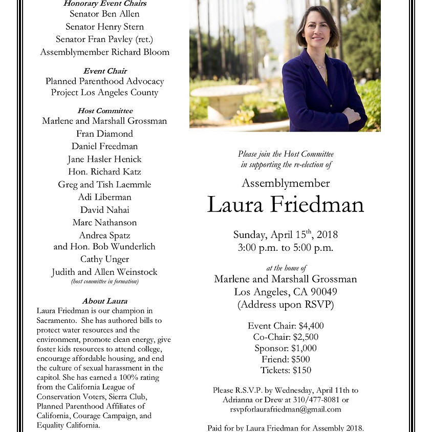 Re-Election Event for Asm. Laura Friedman