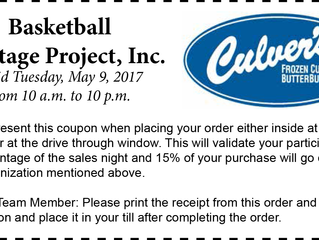 Culver's donating 15% to Basketball Heritage Project, Inc.