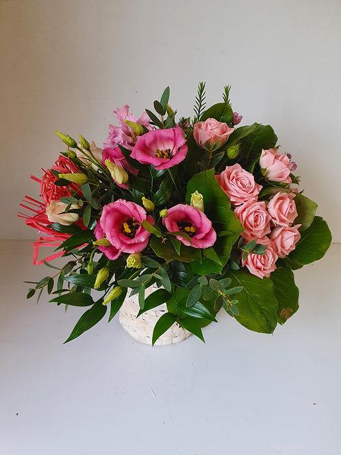 Basket Arrangement of Seasonal Flowers