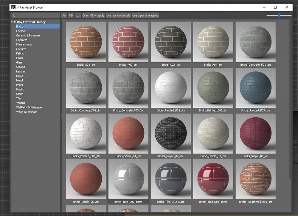 The V-ray 5 Material Library inside 3DS Max.