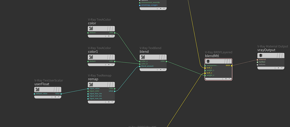 The V-ray BRDF Layered node allows to stack materials.