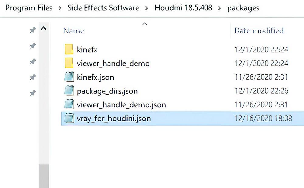 The .json file original installation folder (on Windows)