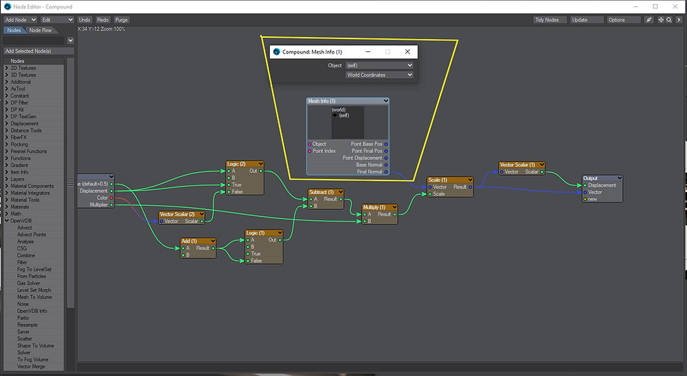 The Mesh Info node replaces the standard input node.