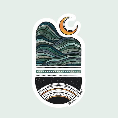 Moon Mountain Balance Sticker (@kristinheldtart)