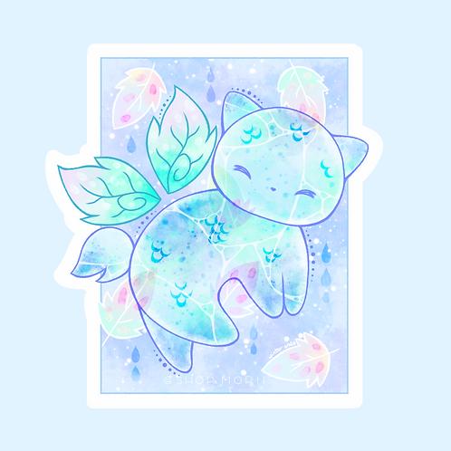 Fishscale Cat & Leaves Sticker (@winterando)