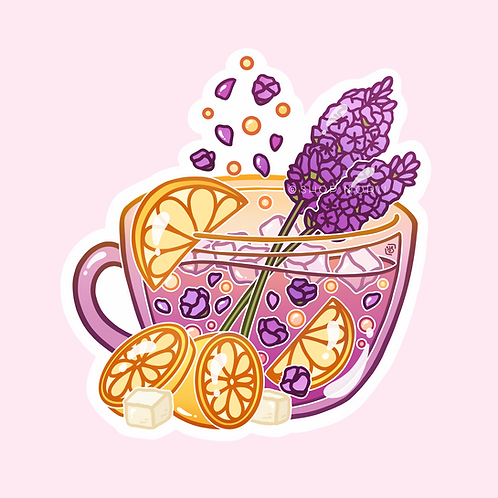 Lavender Lemon Tea Sticker (@heysoleilart)