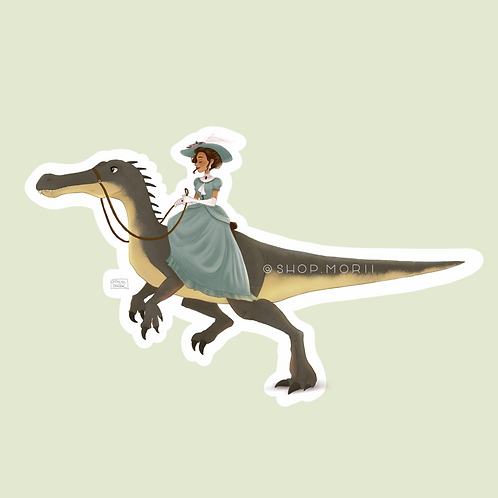 Victorian Lady & Baryonyx Sticker (@pastel.shark)
