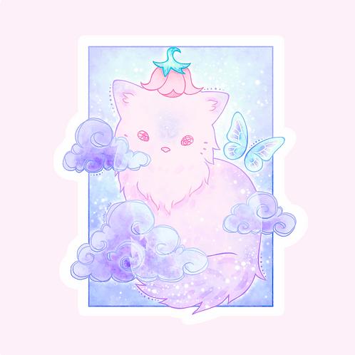 Flowerhat Cat & Clouds Sticker (@winterando)