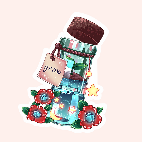 """""""Grow"""" Message-in-a-Bottle Sticker (@catface.exe)"""