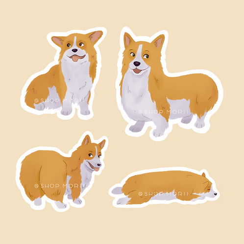 Corgi Sticker Pack (@pastel.shark)