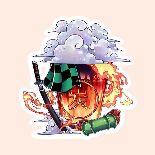 Tanjiro-Inspired Bubbletea Sticker (@catface.exe)