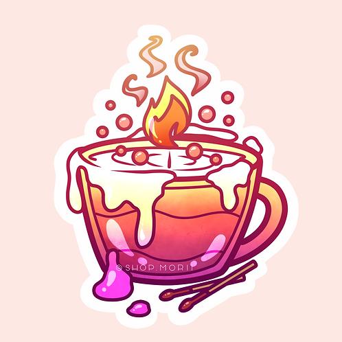 Aesthetic Fire Teacup Sticker (@heysoleilart)