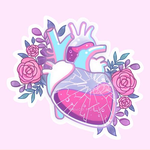 Glass Heart Sticker (@leendoodles)