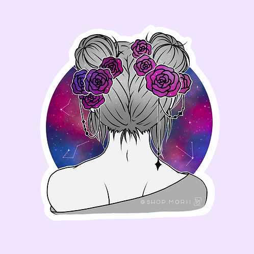 Galaxy Spacebuns Sticker (@heysoleilart)