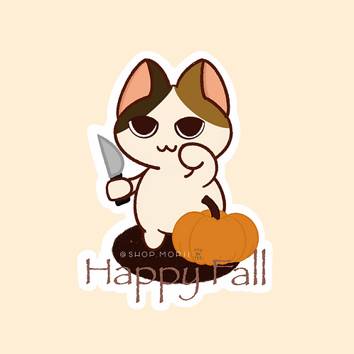 """Happy Fall"" Kitty Sticker (@teesstudioco)"