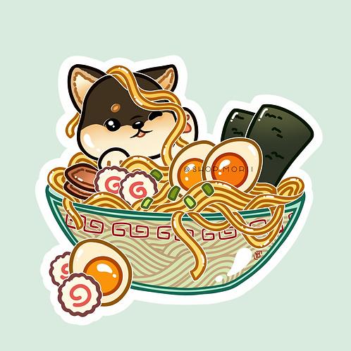 Shiba Ramen Bowl Sticker (@heysoleilart)