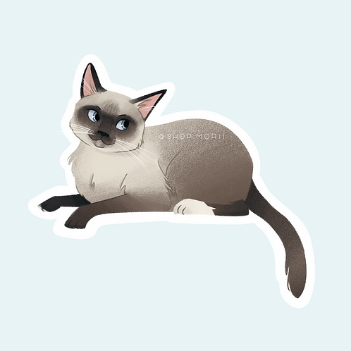 Siamese Cat 5 Sticker (@pastel.shark)