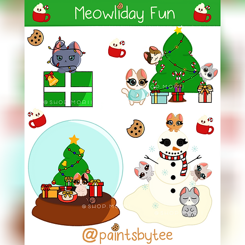Meowliday Fun Sticker Sheet (@paintsbytee)