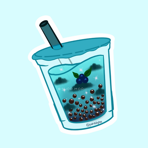 Blueberry Boba Sticker (@paintsbytee)