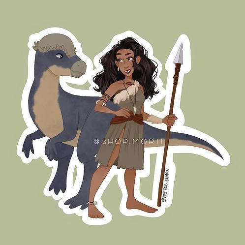 Cavegirl Sticker (@pastel.shark)