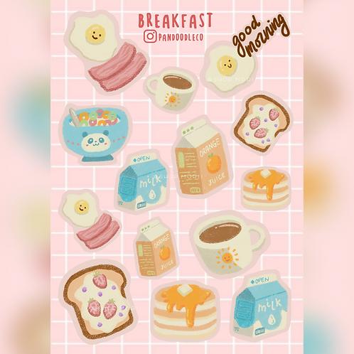 Breakfast Sticker Sheet (@_pandoodle)