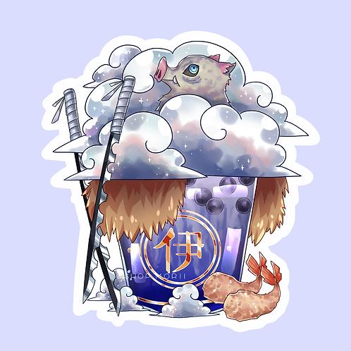 Inosuke-Inspired Bubbletea Sticker (@catface.exe)