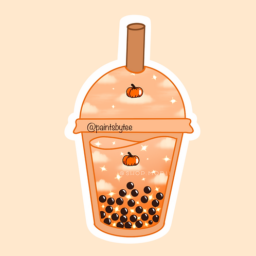 Pumpkin Spice Boba Sticker (@paintsbytee)