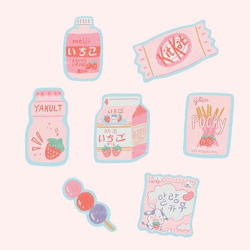 Foodie Series: Pink! Sticker Pack (@_pandoodle)
