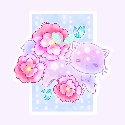 Galaxy Flower Cat Sticker (@winterando)