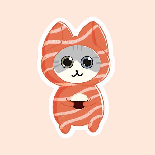 Salmon Sushi Cats Sticker (@paintsbytee)