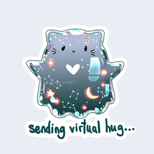 Hugging Cat Ghost Sticker (@catface.exe)