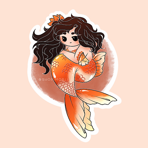 Goldfish Mermaid Chibi Sticker (@heysoleilart)