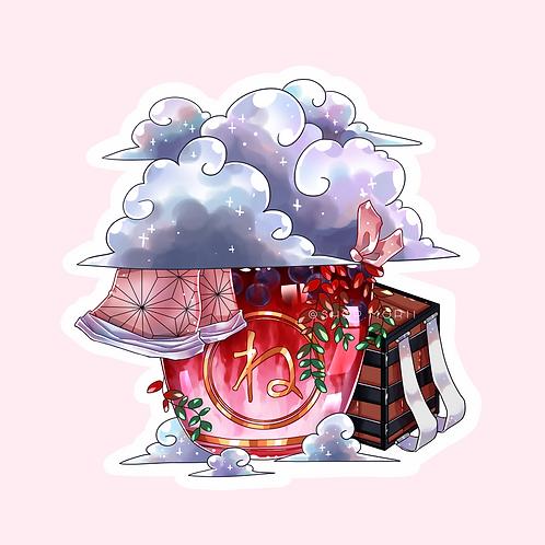 Nezuko-Inspired Bubbletea Sticker (@catface.exe)