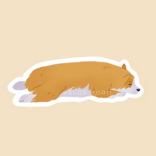 Sleepy Corgi Sticker (@pastel.shark)