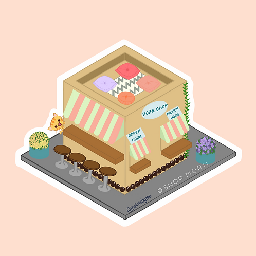Boba Shop Sticker (@teestudioco)