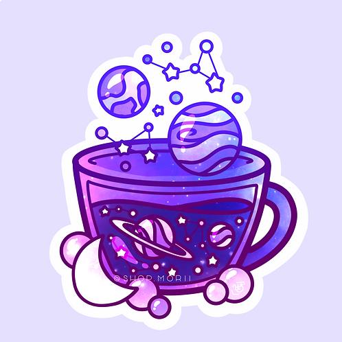 Aesthetic Galaxy Teacup Sticker (@heysoleilart)