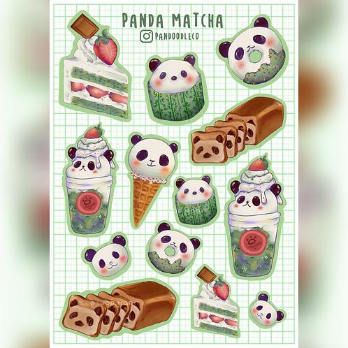 Panda Matcha Sticker Sheet (@_pandoodle)