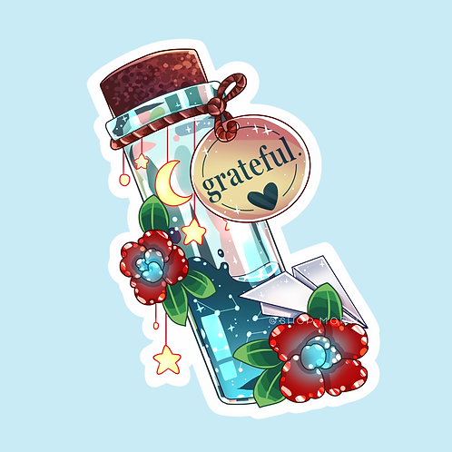 """Grateful"" Message-in-a-Bottle Sticker (@catface.exe)"