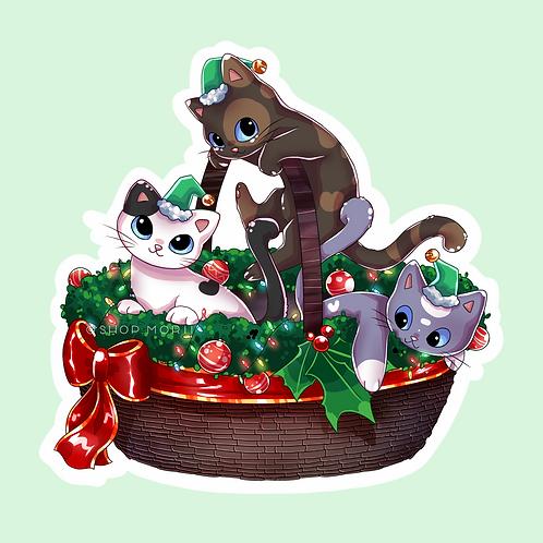 Christmas Kitten Elves Sticker (@catface.exe)
