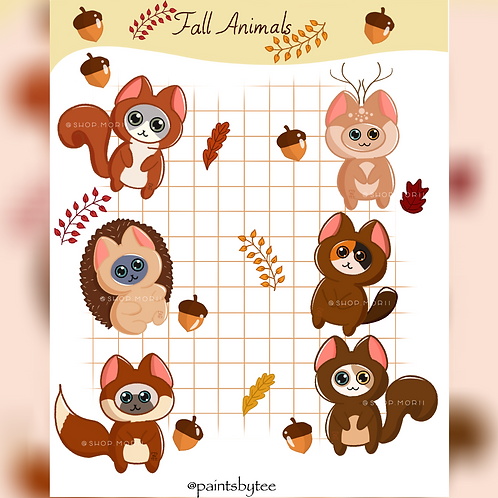 Fall Animals Sticker Sheet (@paintsbytee)