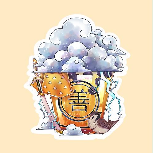 Zenitsu-Inspired Bubbletea Sticker (@catface.exe)