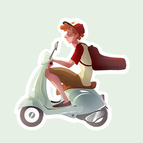 Pizza Delivery Guy Sticker (@agnesillustrates)