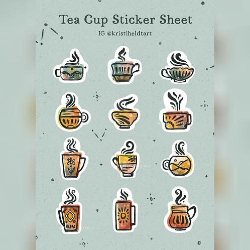 Tea Cup Sticker Sheet (@kristinheldtart)