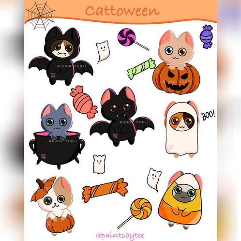 Cattoween Sticker Sheet (@paintsbytee)