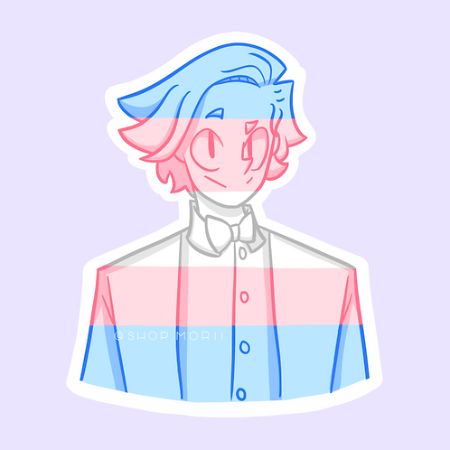Trans Flag Sticker - Full Color (@chi_teetee)