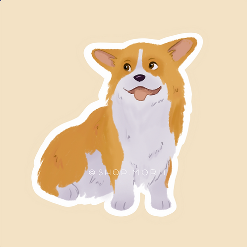 Sitting Corgi Sticker (@pastel.shark)