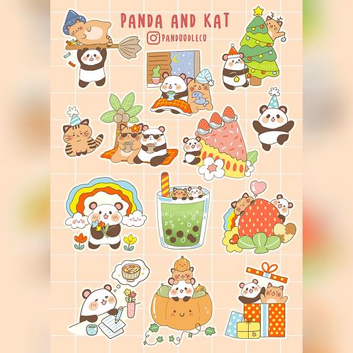 Panda and Kat Sticker Sheet (@_pandoodle)