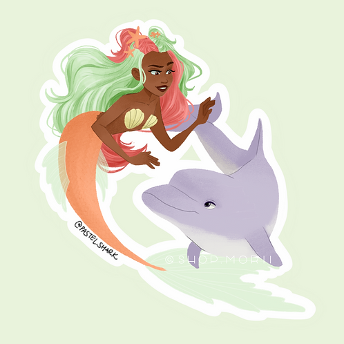 Two-tone Mermaid and Dolphin Sticker (@pastel.shark)
